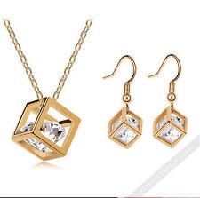Halskette + Anhänger + Ohrringe 3er Set Diamant Geschenk Schmuck Gold FERANI