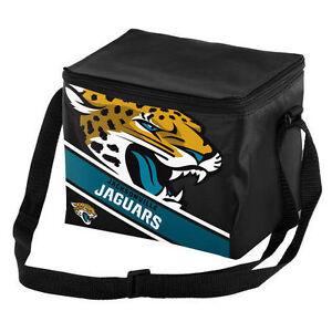 Jacksonville Jaguars NFL Big Logo Striped 6pack Cooler Lunch Box Bag Insulated