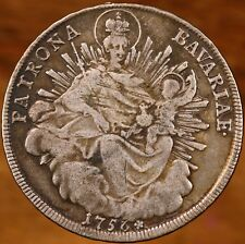Raw 1756 Bavaria Thaler German States Silver Coin Madonna & Child