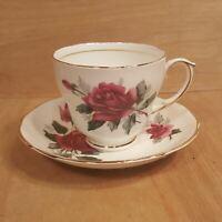 Vintage DUCHESS TEACUP + SAUCER Set ~ PANDORA Red Rose ~ England