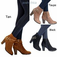 New Women TCs3 Black Tan Western Ankle Booties Riding Heel Boots sz 5.5 to 10