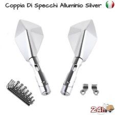Specchietti Retrovisori Maxi Scooter Custom Universali Alluminio Silver M123