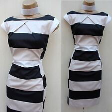 Stunning Karen Millen Graphic Stripe Pattern Office Cocktail Wiggle Dress 16 UK