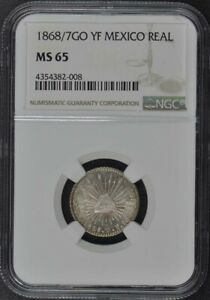 1868/7GO YF MEXICO REAL NGC MS65