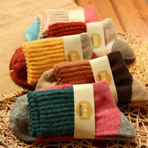 5 Paar Mongolei Kaschmir Kaninchen Haar Damen Mädchen Socken Luxus warme Wolle