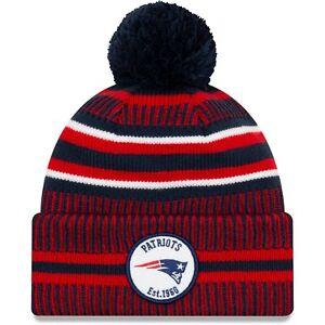 NEW New England Patriots Beanie NFL New Era On Field 2019 Sport Bobble Hat HOME