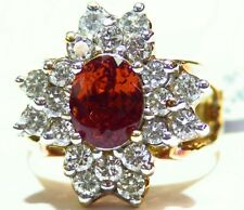 4.44CT 18K Gold Natural Garnet Cut White Diamond Vintage Jewelry Engagement Ring