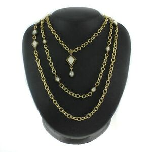 """HSN Studio Barse 3Row Graduated Gemstone and 19"""" Chain Necklace"""