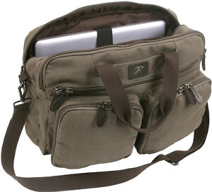 Canvas Briefcase Backpack Convertible Laptop Knapsack Messenger Shoulder Bag