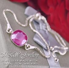 925 Pulsera De Plata Cristales de Swarovski ® elegante piedra Peone Rosa