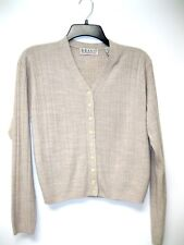 Vintage BRAVO Soft Ribbed Oatmeal Beige Cropped Cardi Sweater Cardigan Womens M