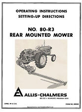 Allis Chalmers No. 80R3 80-R3 Mower Owners Operators and Setting up Setup Manual