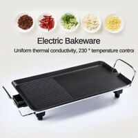 Electric Teppanyaki Table Top Grill Griddle BBQ Barbecue Nonstick Plate Baking