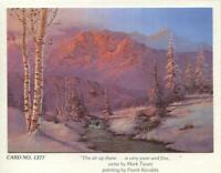 VINTAGE CHRISTMAS STREAM MOUNTAIN BIRCH PINK PURPLE BLUE HUES FRANK KECSKES CARD
