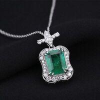 Damen Halskette echt Silber 925 Smaragd Edelstein Kette Silber Anhänger Geschenk