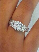 1.5 CT Diamond Emerald Cut Engagement Wedding Ring 925 Sterling Silver