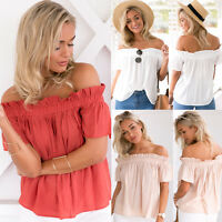 Women One Off Shoulder Casual Frill Tops Loose Blouse Ladies T Shirt Beach Shirt