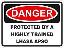 Dog LHASA APSO Breed Danger Sticker Pet for Bumper Locker Car Door