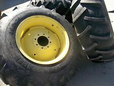TWO 14.9x24  Alliance 5200 John Deere  T/L 8 Ply Tractor Tires on Used Wheels
