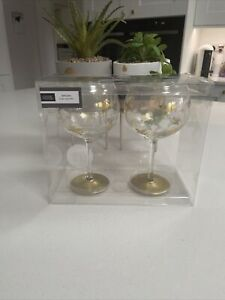 Set Of 2 Large Flying Gold Unicorn Gin Glasses/Goblets New Ideal Gin Lover Gift