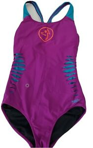 Womens Speedo Zumba One Piece Swimsuit SIZE 6 Purple Ripped  Hydro Bra B20