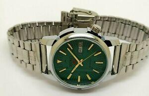 genuine seiko 5 automatic men steel green dial day date 17jewel watch run order