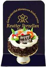 New boxed Reutter Porzellan dolls house miniature Happy Birthday Cake and stand