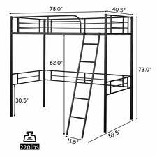 Twin Loft Metal Single Bed Kids Teens w/ Safety Guardrails Ladder Black