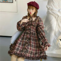 Japanese Lolita Dress Retro Plaid Bow Dress Mori Girl Ruffles Cosplay Costume