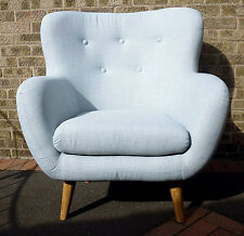 Retro/ Contemporary Duck Egg Blue High Back Armchair.Oak Leg