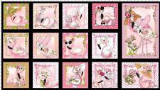 "Loralie Flamingo Fancy 692 327 Black 24"" Panel  Cotton Fabric"