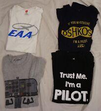Lot 4 EAA OshKosh Trust me I'm a Pilot Cesna Aviation grey black T Shirt Size M