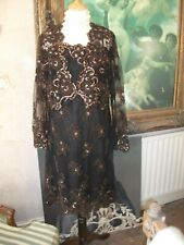 Ladies 2 Piece Brown toile heavily adorned dress suit size 14 by Phase Eight