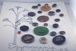 23 Antique Vtg Sewing Button Lot Card Egyptomania Egyptian Nefertiti Pharoah