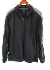 Starter Track Top Black Mesh Lined textured Windbreaker Jacket Sz L