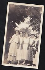 Old Vintage Antique Photograph Five Women Wearing Cool Outfits & Hats