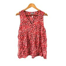 Sussan Blouse Size 18 Red White Black Floral Pattern Casual Top Front Button