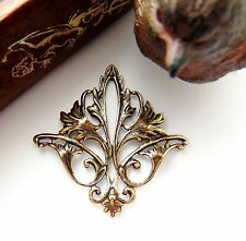ANTIQUE BRASS Filigree Acanthus Leaf Stamping ~ Finding (CB-3052)