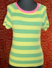 ABERCROMBIE & FITCH green striped multi-blend w/cashmere sweater L (T41-0DF7)