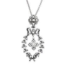 Van Kempen Victorian Simulated Pearl Wreath Pendant w Swarovski Crystals, Silver