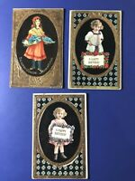 3 Very Nice GOLD Embossed CHILDREN Antique BIRTHDAY Postcards. For Collectors