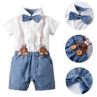 Toddler Kids Baby Boy Gentleman Bow Tie Shirt Suspender Shorts Outfits Set
