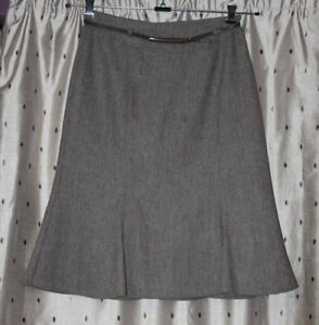 """Eastex Ladies Lined Brown Wool Mix Skirt With Belt ~ Size 14 ~ 28"""" Long"""