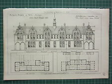 1877 DATED ARCHITECTURAL PRINT ~ SCHOOL BOARD FOR HOVE SUSSEX ~ FLOOR PLAN