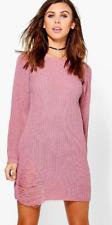 Boohoo Pink Petite Amanda Distressed Jumper Dress Size UK L Ls171 PP 04