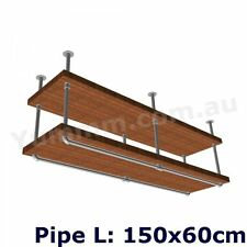 Rustic Industrial Furniture Vintage Ceiling Hung Pipe Mount Bracket Shelf BS034B
