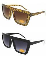 VTG 80's Style Big Square Frame Sunglasses Retro Glasses Black/Brown