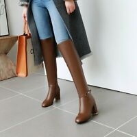 Womens High Heels Knee High Boots Side Zip Lady Slim Fit Party Sexy Bootie Shoes