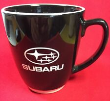 Large Subaru Ceramic Coffee Mug Black With White Rim White Base