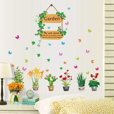 Flowers Pot Plants Butterfly Wall Stickers Vinyl Decal Mural Home Garden Decor